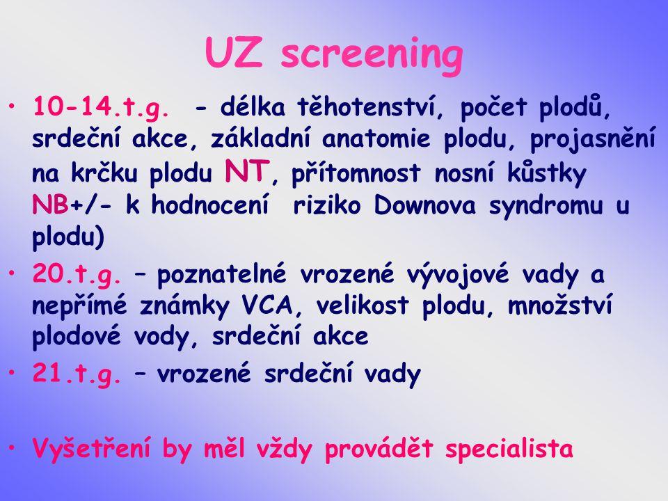 UZ screening 10-14.t.g. - délka těhotenství, počet plodů, srdeční akce, základní anatomie plodu, projasnění na krčku plodu NT, přítomnost nosní kůstky