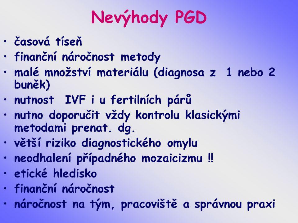Nevýhody PGD časová tíseň finanční náročnost metody malé množství materiálu (diagnosa z 1 nebo 2 buněk) nutnost IVF i u fertilních párů nutno doporuči