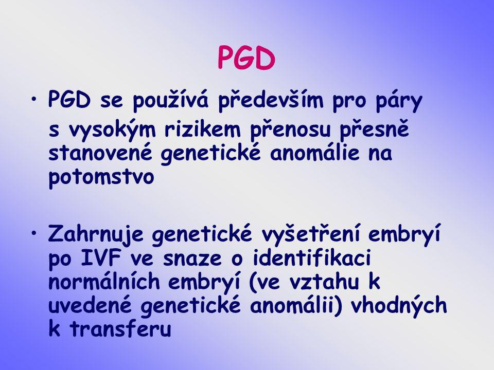 PGD PGD se používá především pro páry s vysokým rizikem přenosu přesně stanovené genetické anomálie na potomstvo Zahrnuje genetické vyšetření embryí p