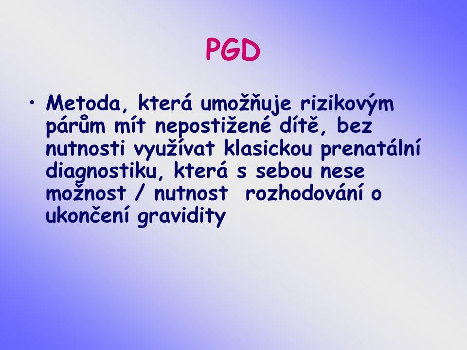 PGD Metoda, která umožňuje rizikovým párům mít nepostižené dítě, bez nutnosti využívat klasickou prenatální diagnostiku, která s sebou nese možnost /