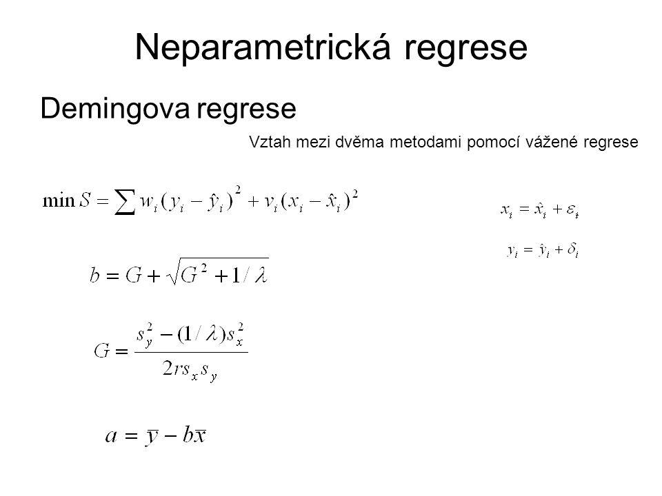 Demingova regrese Neparametrická regrese Vztah mezi dvěma metodami pomocí vážené regrese