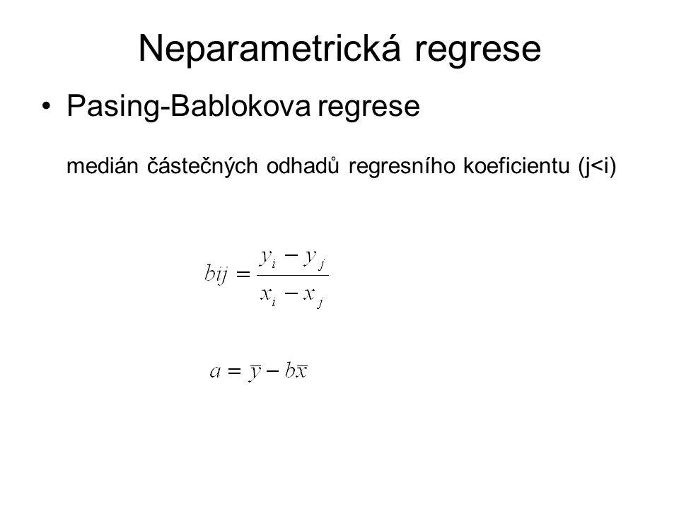 Pasing-Bablokova regrese medián částečných odhadů regresního koeficientu (j<i) Neparametrická regrese