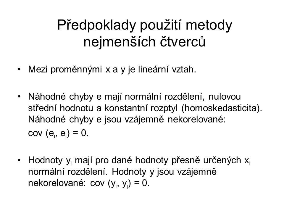 Předpoklady použití metody nejmenších čtverců Mezi proměnnými x a y je lineární vztah. Náhodné chyby e mají normální rozdělení, nulovou střední hodnot