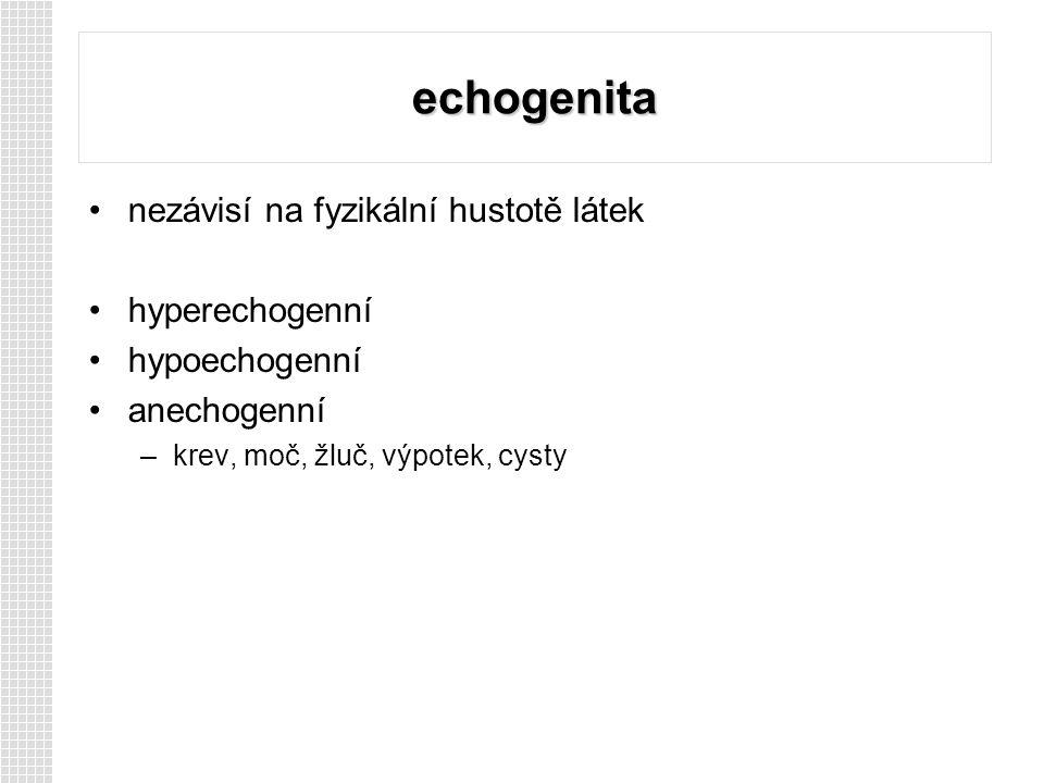 echogenita nezávisí na fyzikální hustotě látek hyperechogenní hypoechogenní anechogenní –krev, moč, žluč, výpotek, cysty