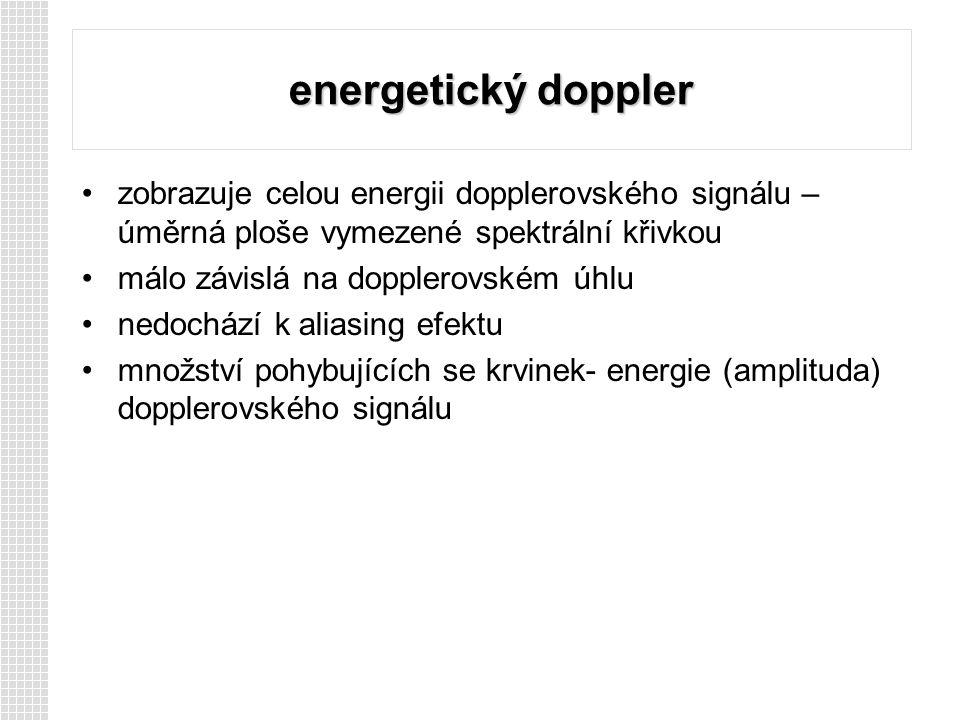 energetický doppler zobrazuje celou energii dopplerovského signálu – úměrná ploše vymezené spektrální křivkou málo závislá na dopplerovském úhlu nedochází k aliasing efektu množství pohybujících se krvinek- energie (amplituda) dopplerovského signálu