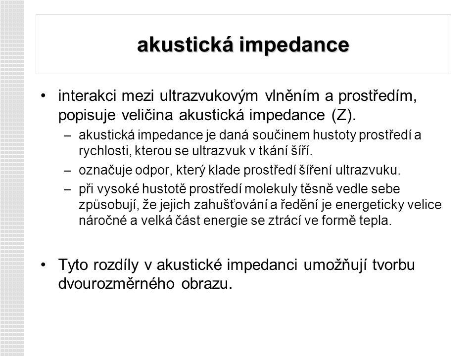 akustická impedance interakci mezi ultrazvukovým vlněním a prostředím, popisuje veličina akustická impedance (Z).