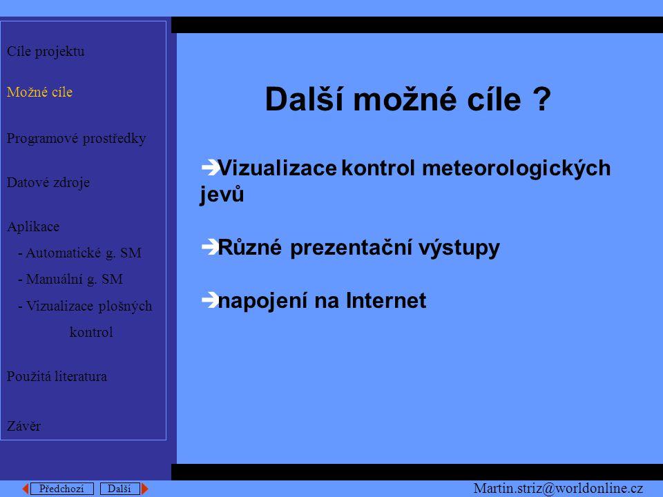 Předchozí Další Použita literatura [1] ESRI: Avenue, Customization and Application Develepment for Arc View Gis,1997 [2] Hersan, M.: Replikační procesy ČHMÚ, VŠB-TU Ostrava 1998 [3] Kuchařík,M.: Povětrnostní příprava, část II., UJEP Brno, Brno 1986 Cíle projektu Možné cíle Programové prostředky Datové zdroje Aplikace - Automatické g.