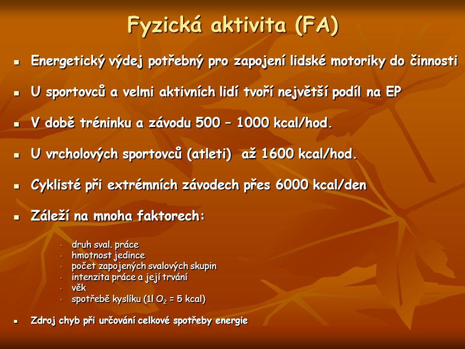 Fyzická aktivita (FA) Energetický výdej potřebný pro zapojení lidské motoriky do činnosti Energetický výdej potřebný pro zapojení lidské motoriky do č