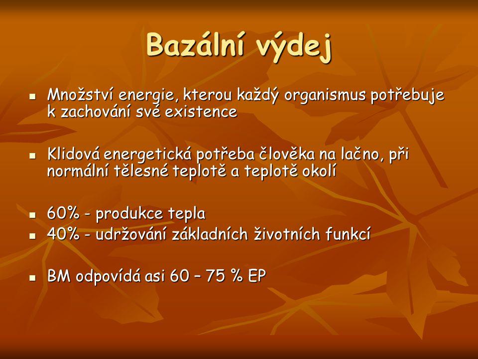 Bazální výdej Množství energie, kterou každý organismus potřebuje k zachování své existence Množství energie, kterou každý organismus potřebuje k zach