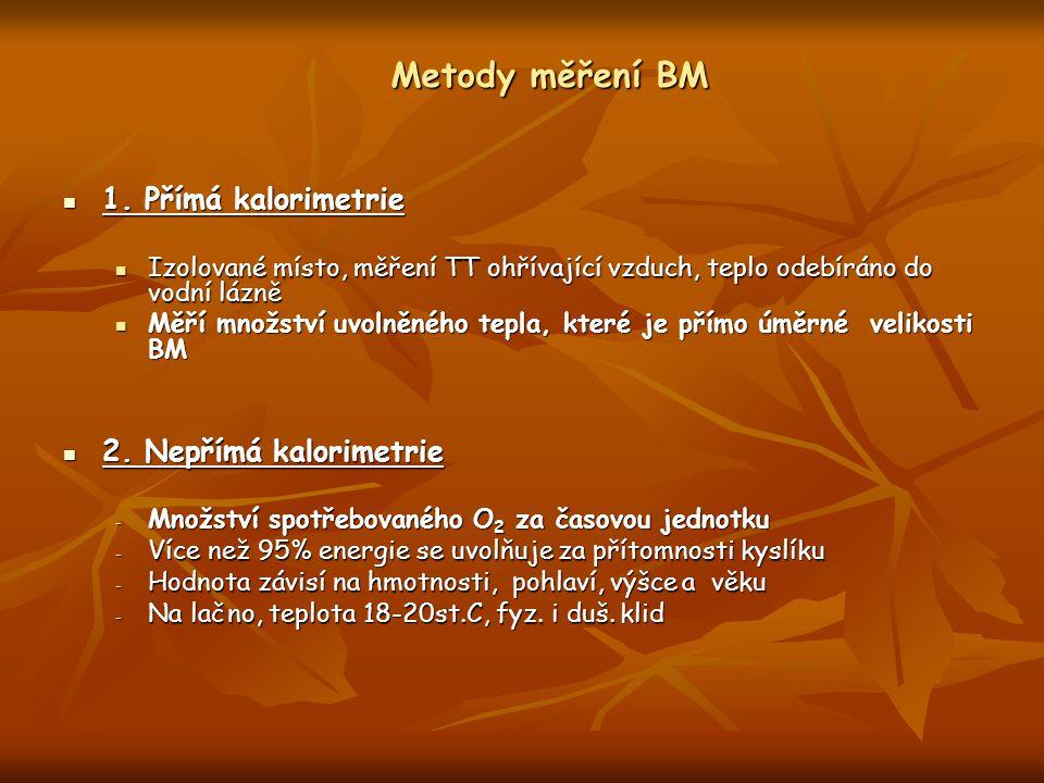 Metody měření BM 1. Přímá kalorimetrie 1. Přímá kalorimetrie Izolované místo, měření TT ohřívající vzduch, teplo odebíráno do vodní lázně Izolované mí