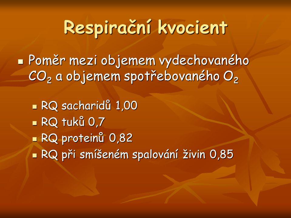 Respirační kvocient Poměr mezi objemem vydechovaného CO 2 a objemem spotřebovaného O 2 Poměr mezi objemem vydechovaného CO 2 a objemem spotřebovaného