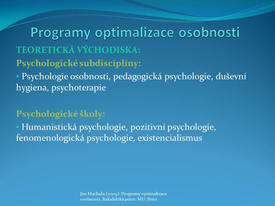 TEORETICKÁ VÝCHODISKA: Psychologické subdisciplíny: Psychologie osobnosti, pedagogická psychologie, duševní hygiena, psychoterapie Psychologické školy