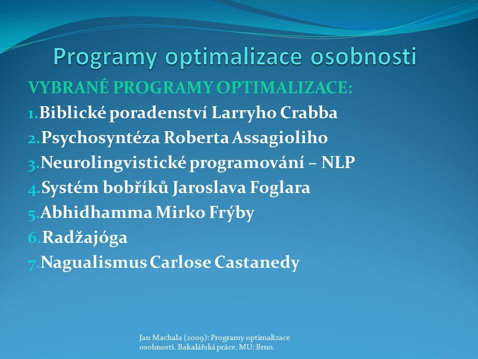 VYBRANÉ PROGRAMY OPTIMALIZACE: 1. Biblické poradenství Larryho Crabba 2. Psychosyntéza Roberta Assagioliho 3. Neurolingvistické programování – NLP 4.