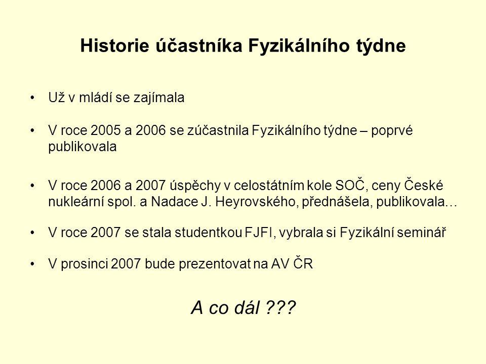 Historie účastníka Fyzikálního týdne Už v mládí se zajímala V roce 2005 a 2006 se zúčastnila Fyzikálního týdne – poprvé publikovala V roce 2006 a 2007