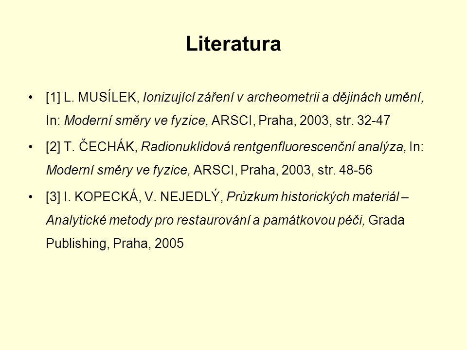 Literatura [1] L. MUSÍLEK, Ionizující záření v archeometrii a dějinách umění, In: Moderní směry ve fyzice, ARSCI, Praha, 2003, str. 32-47 [2] T. ČECHÁ