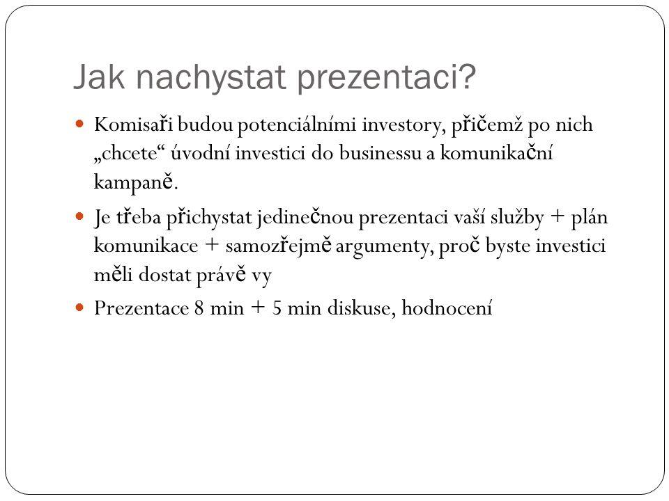 """Jak nachystat prezentaci? Komisa ř i budou potenciálními investory, p ř i č emž po nich """"chcete"""" úvodní investici do businessu a komunika č ní kampan"""