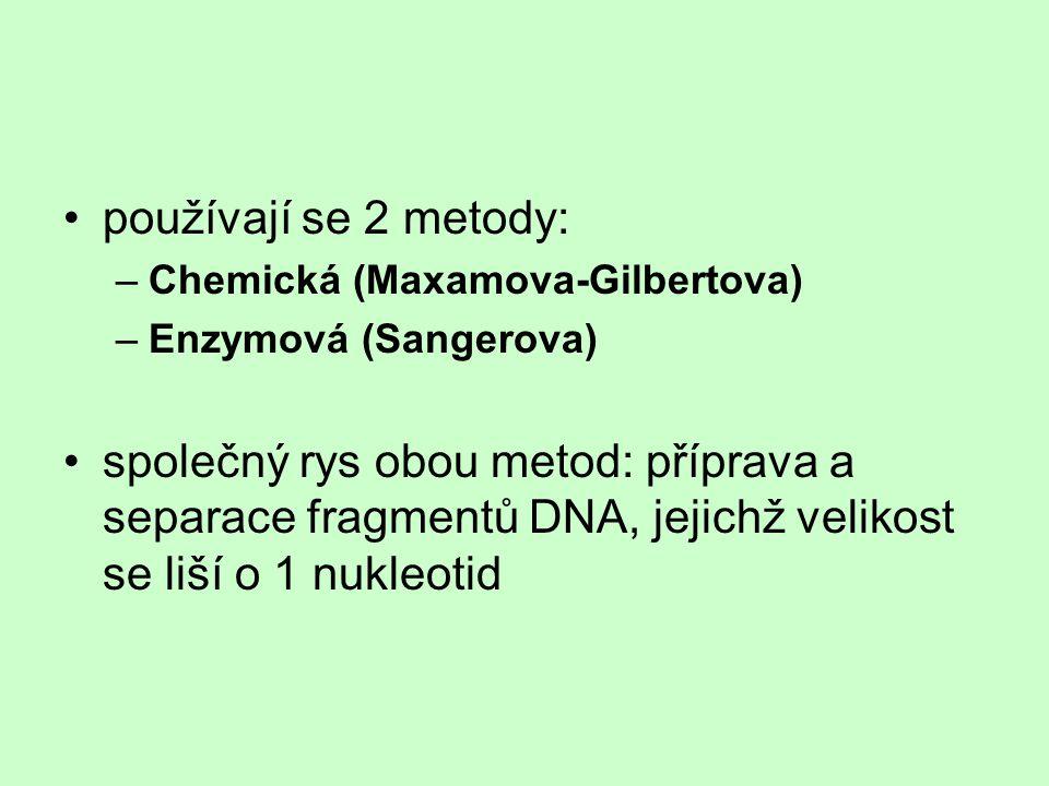 používají se 2 metody: –Chemická (Maxamova-Gilbertova) –Enzymová (Sangerova) společný rys obou metod: příprava a separace fragmentů DNA, jejichž velik