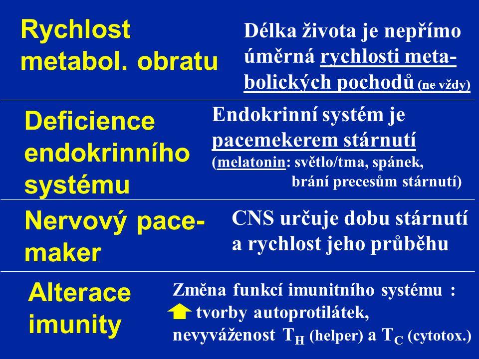 Rychlost metabol. obratu Délka života je nepřímo úměrná rychlosti meta- bolických pochodů (ne vždy) Deficience endokrinního systému Endokrinní systém