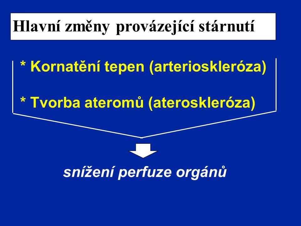 Hlavní změny provázející stárnutí * Kornatění tepen (arterioskleróza) * Tvorba ateromů (ateroskleróza) snížení perfuze orgánů