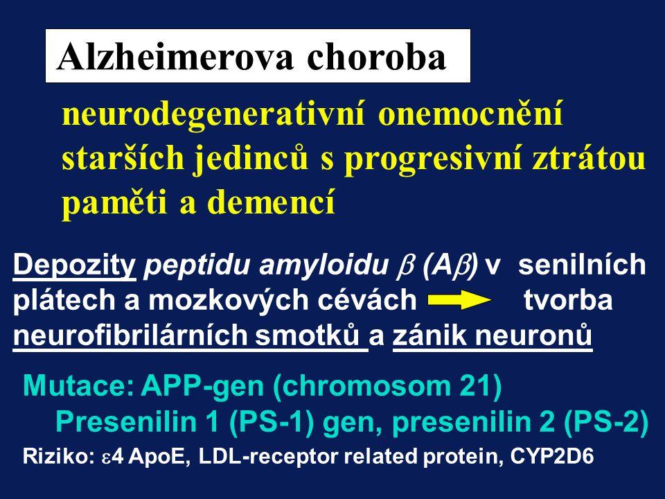 Alzheimerova choroba neurodegenerativní onemocnění starších jedinců s progresivní ztrátou paměti a demencí Depozity peptidu amyloidu  (A  ) v senil