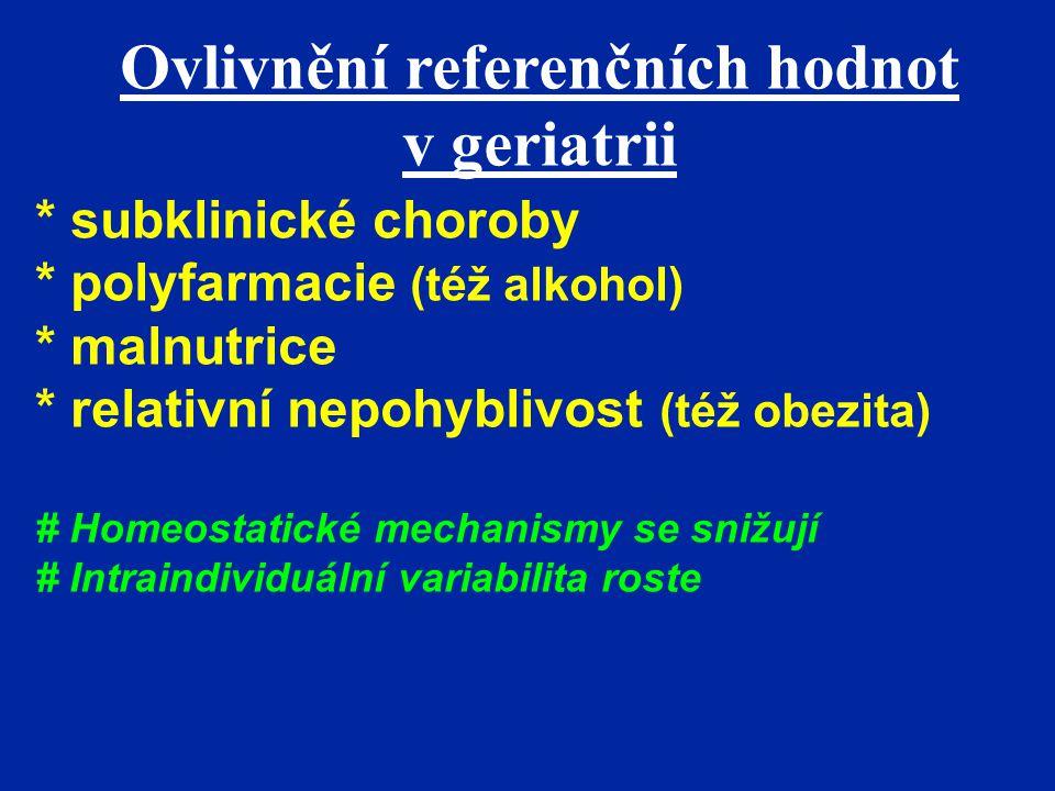 Ovlivnění referenčních hodnot v geriatrii * subklinické choroby * polyfarmacie (též alkohol) * malnutrice * relativní nepohyblivost (též obezita) # Ho