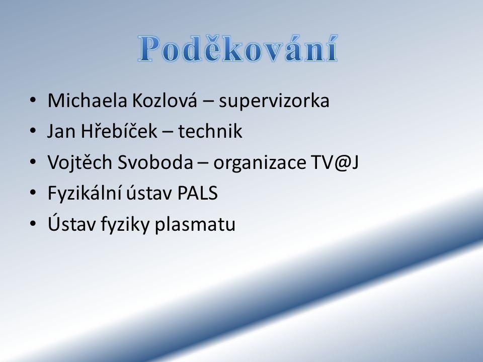 Michaela Kozlová – supervizorka Jan Hřebíček – technik Vojtěch Svoboda – organizace TV@J Fyzikální ústav PALS Ústav fyziky plasmatu