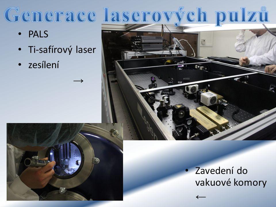 PALS Ti-safírový laser zesílení → Zavedení do vakuové komory ←