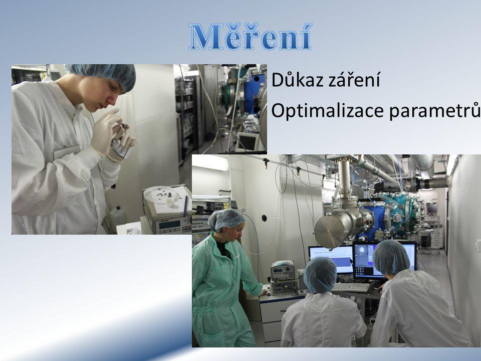 Důkaz záření Optimalizace parametrů