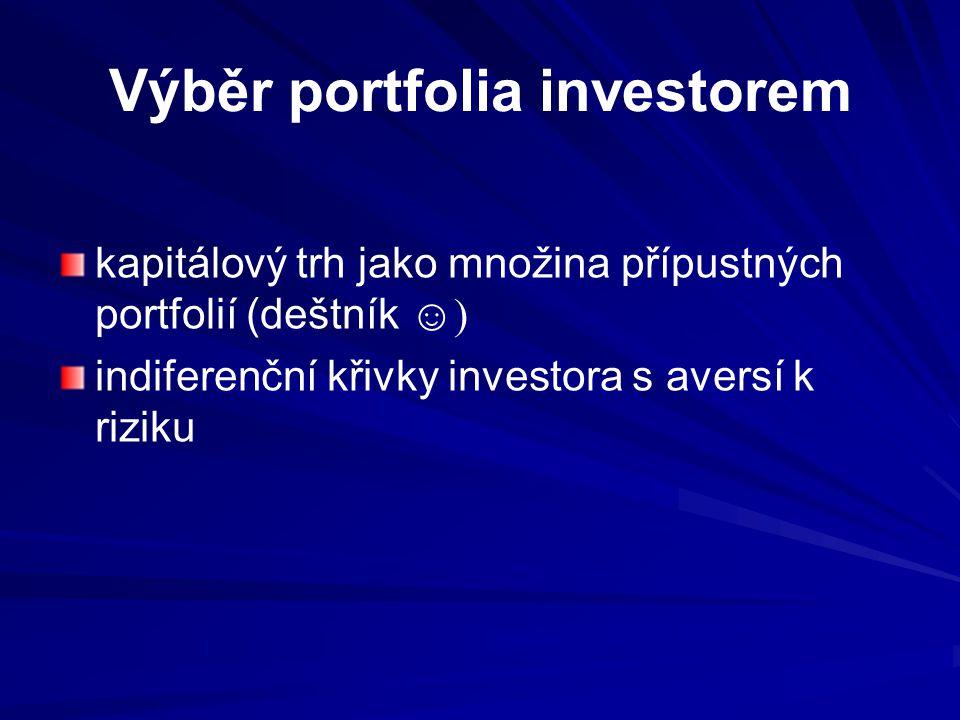 Výběr portfolia investorem kapitálový trh jako množina přípustných portfolií (deštník ☺) indiferenční křivky investora s aversí k riziku