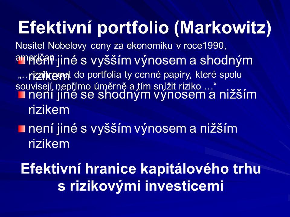Efektivní portfolio (Markowitz) není jiné s vyšším výnosem a shodným rizikem není jiné se shodným výnosem a nižším rizikem není jiné s vyšším výnosem