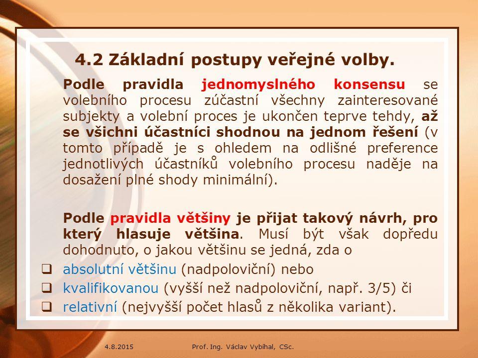 Prof. Ing. Václav Vybíhal, CSc.4.8.2015 4.2 Základní postupy veřejné volby. Podle pravidla jednomyslného konsensu se volebního procesu zúčastní všechn