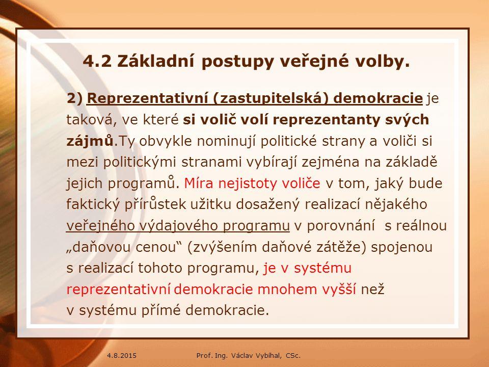 Prof. Ing. Václav Vybíhal, CSc.4.8.2015 4.2 Základní postupy veřejné volby. 2)Reprezentativní (zastupitelská) demokracie je taková, ve které si volič