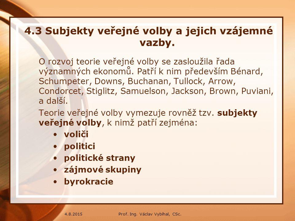 Prof. Ing. Václav Vybíhal, CSc.4.8.2015 4.3 Subjekty veřejné volby a jejich vzájemné vazby. O rozvoj teorie veřejné volby se zasloužila řada významnýc