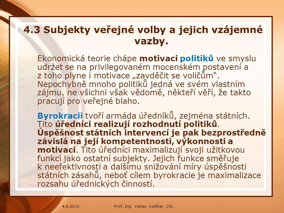 Prof. Ing. Václav Vybíhal, CSc.4.8.2015 4.3 Subjekty veřejné volby a jejich vzájemné vazby. Ekonomická teorie chápe motivaci politiků ve smyslu udržet