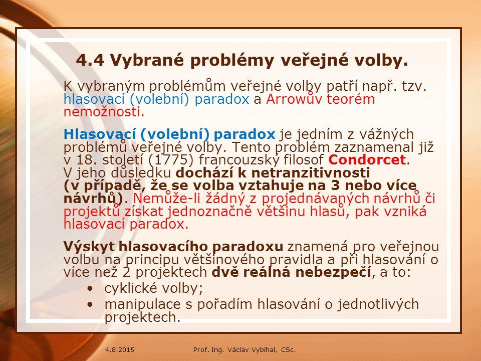 Prof. Ing. Václav Vybíhal, CSc.4.8.2015 4.4 Vybrané problémy veřejné volby. K vybraným problémům veřejné volby patří např. tzv. hlasovací (volební) pa