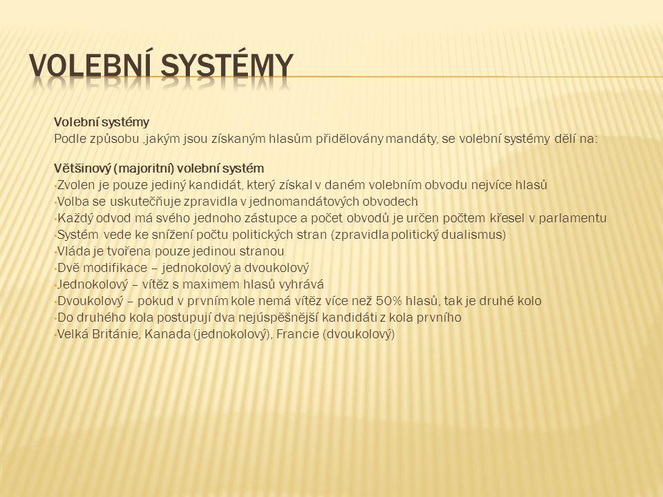 Volební systémy Podle způsobu,jakým jsou získaným hlasům přidělovány mandáty, se volební systémy dělí na: Většinový (majoritní) volební systém Zvolen