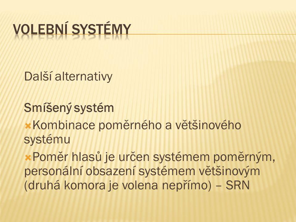 Další alternativy Smíšený systém  Kombinace poměrného a většinového systému  Poměr hlasů je určen systémem poměrným, personální obsazení systémem většinovým (druhá komora je volena nepřímo) – SRN