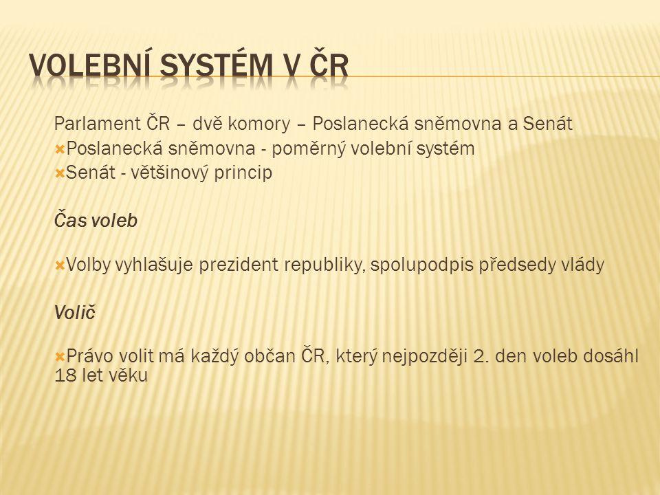Parlament ČR – dvě komory – Poslanecká sněmovna a Senát  Poslanecká sněmovna - poměrný volební systém  Senát - většinový princip Čas voleb  Volby v