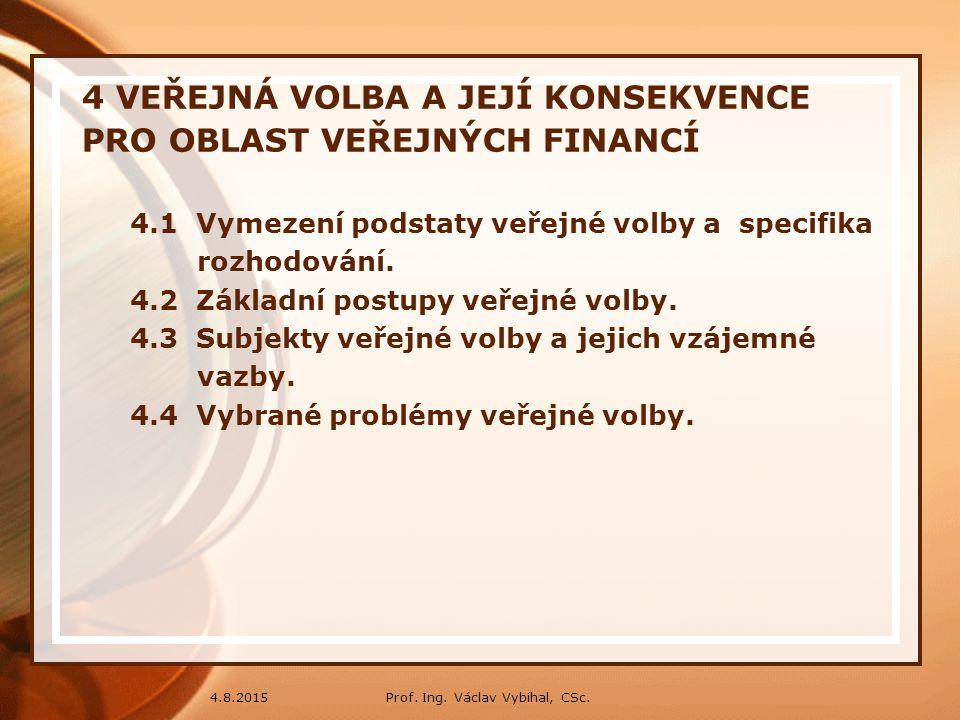 Prof. Ing. Václav Vybíhal, CSc.4.8.2015 4 VEŘEJNÁ VOLBA A JEJÍ KONSEKVENCE PRO OBLAST VEŘEJNÝCH FINANCÍ 4.1 Vymezení podstaty veřejné volby a specifik