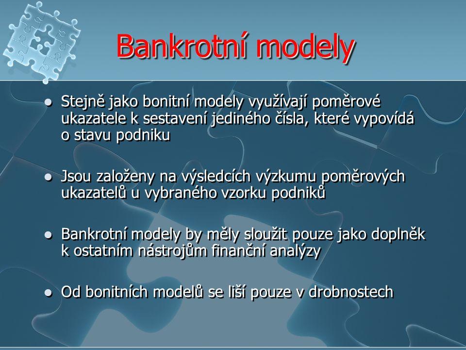 Bankrotní modely Stejně jako bonitní modely využívají poměrové ukazatele k sestavení jediného čísla, které vypovídá o stavu podniku Jsou založeny na v