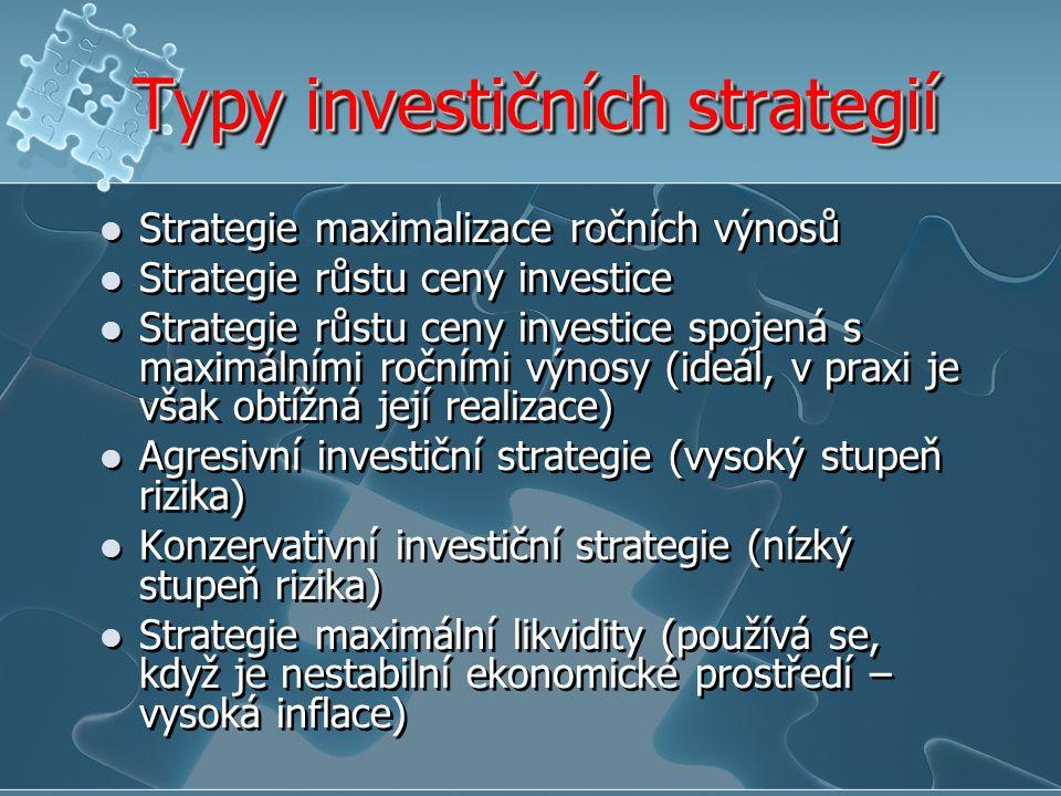 Typy investičních strategií Strategie maximalizace ročních výnosů Strategie růstu ceny investice Strategie růstu ceny investice spojená s maximálními