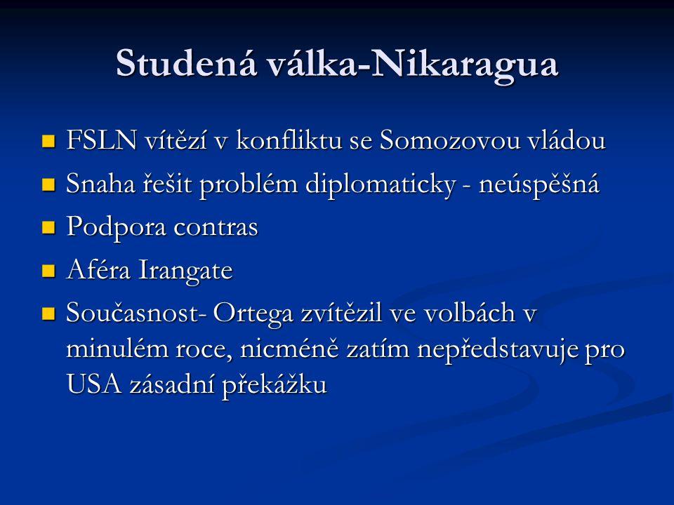 Studená válka-Nikaragua FSLN vítězí v konfliktu se Somozovou vládou FSLN vítězí v konfliktu se Somozovou vládou Snaha řešit problém diplomaticky - neúspěšná Snaha řešit problém diplomaticky - neúspěšná Podpora contras Podpora contras Aféra Irangate Aféra Irangate Současnost- Ortega zvítězil ve volbách v minulém roce, nicméně zatím nepředstavuje pro USA zásadní překážku Současnost- Ortega zvítězil ve volbách v minulém roce, nicméně zatím nepředstavuje pro USA zásadní překážku