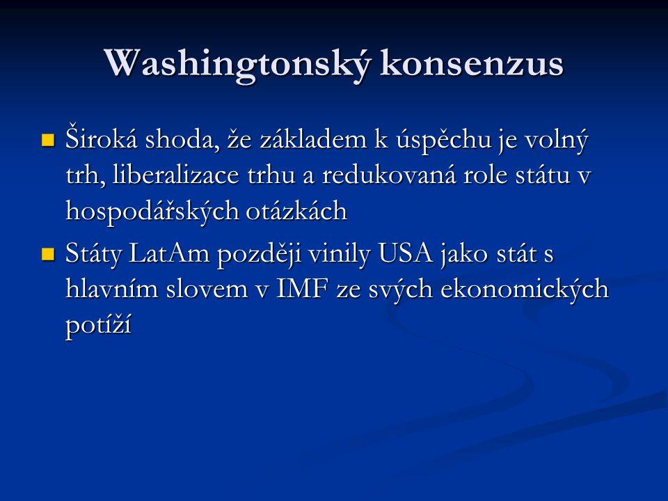 Washingtonský konsenzus Široká shoda, že základem k úspěchu je volný trh, liberalizace trhu a redukovaná role státu v hospodářských otázkách Široká shoda, že základem k úspěchu je volný trh, liberalizace trhu a redukovaná role státu v hospodářských otázkách Státy LatAm později vinily USA jako stát s hlavním slovem v IMF ze svých ekonomických potíží Státy LatAm později vinily USA jako stát s hlavním slovem v IMF ze svých ekonomických potíží