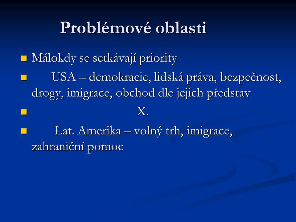 Problémové oblasti Málokdy se setkávají priority Málokdy se setkávají priority USA – demokracie, lidská práva, bezpečnost, drogy, imigrace, obchod dle