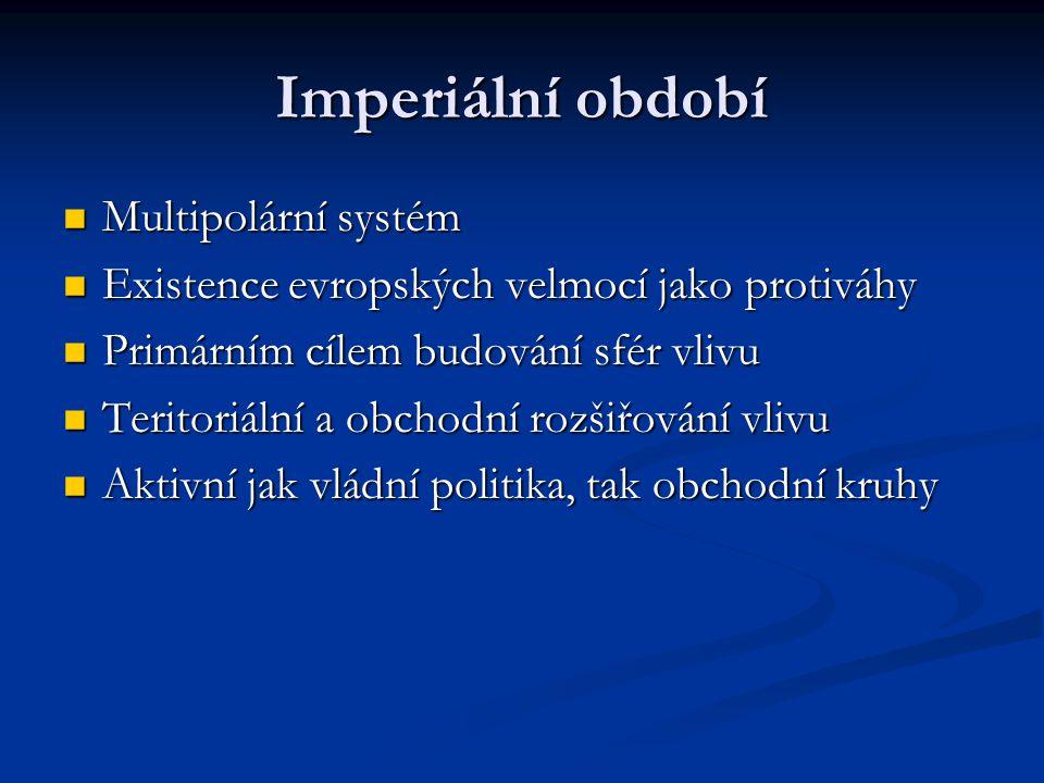 Imperiální období Multipolární systém Multipolární systém Existence evropských velmocí jako protiváhy Existence evropských velmocí jako protiváhy Prim