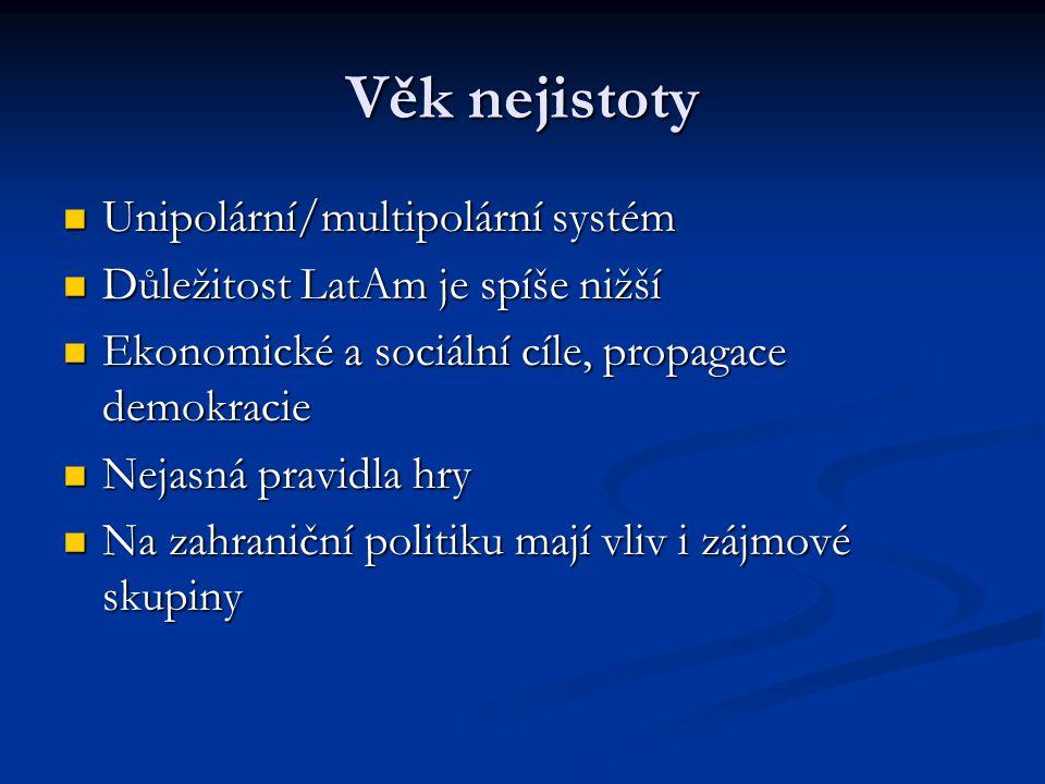 Věk nejistoty Unipolární/multipolární systém Unipolární/multipolární systém Důležitost LatAm je spíše nižší Důležitost LatAm je spíše nižší Ekonomické