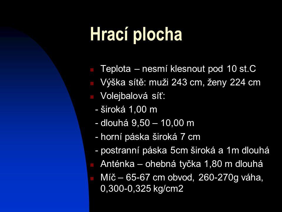 Teplota – nesmí klesnout pod 10 st.C Výška sítě: muži 243 cm, ženy 224 cm Volejbalová síť: - široká 1,00 m - dlouhá 9,50 – 10,00 m - horní páska širok