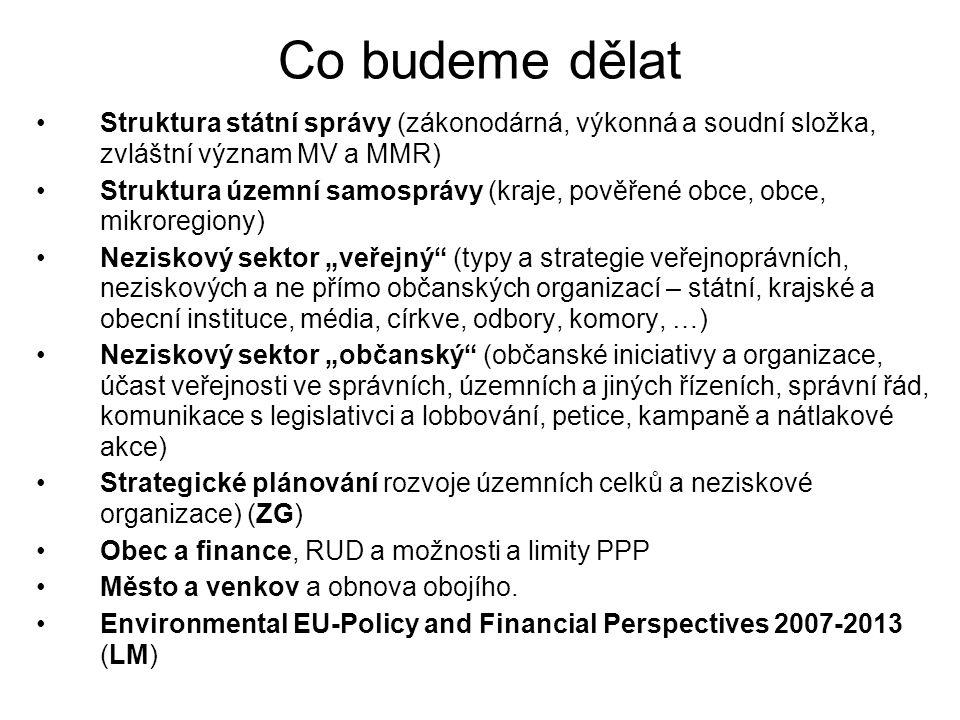 Co budeme dělat Struktura státní správy (zákonodárná, výkonná a soudní složka, zvláštní význam MV a MMR) Struktura územní samosprávy (kraje, pověřené