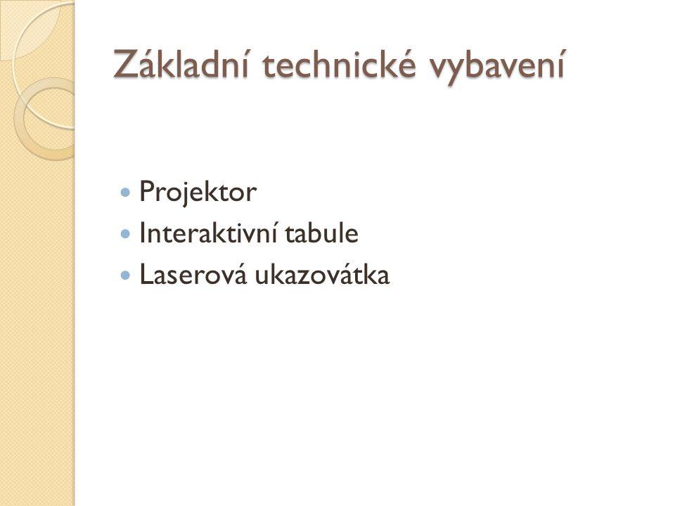 Základní technické vybavení Projektor Interaktivní tabule Laserová ukazovátka