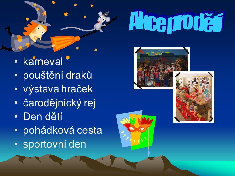 karneval pouštění draků výstava hraček čarodějnický rej Den dětí pohádková cesta sportovní den